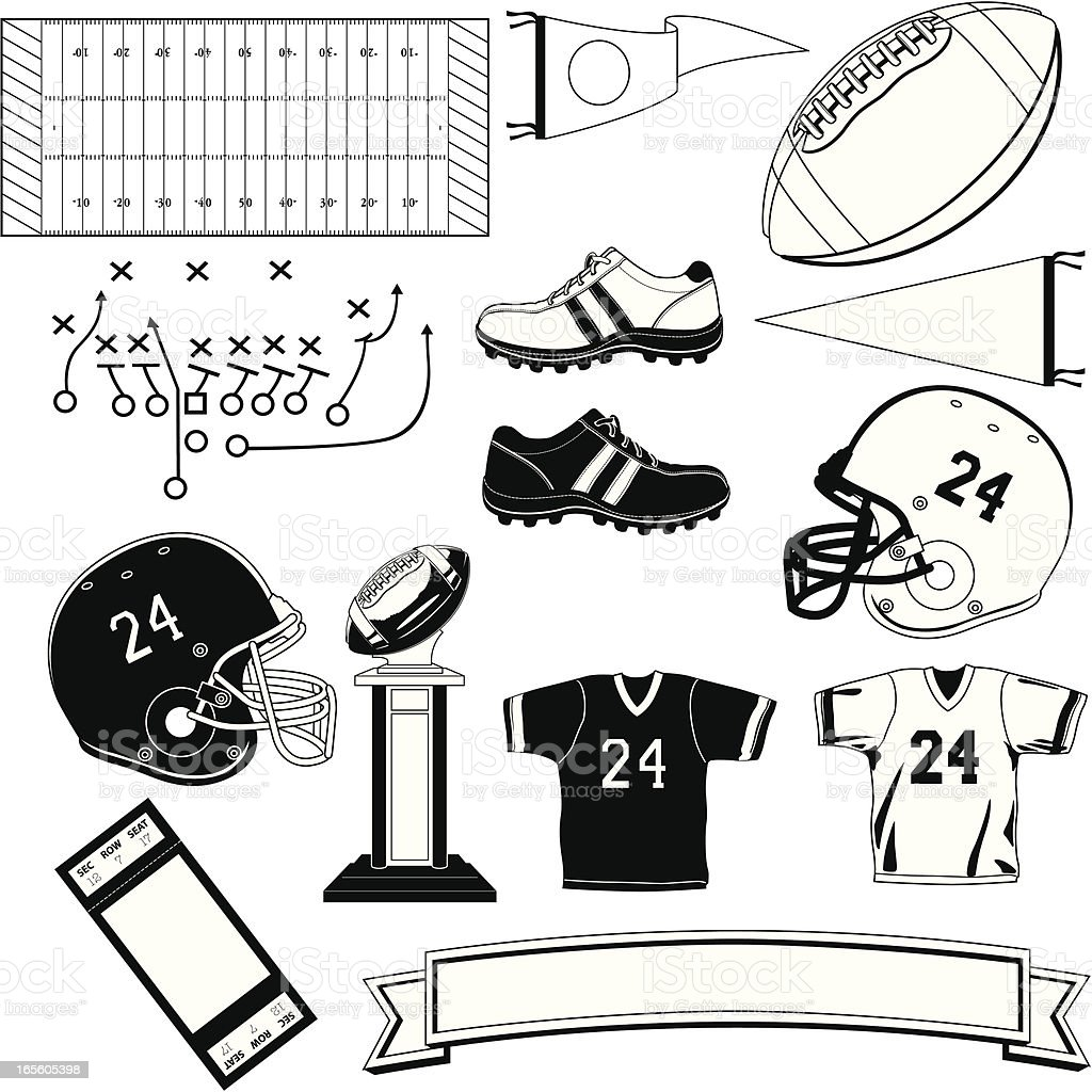 Football Symbols Black and White