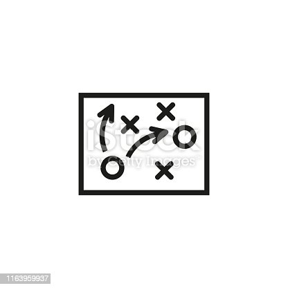 Football tactics line icon. Strategies, game plan, victory, coach. Soccer concept. Vector illustration can be used for topics like sport, entertainment, ball games