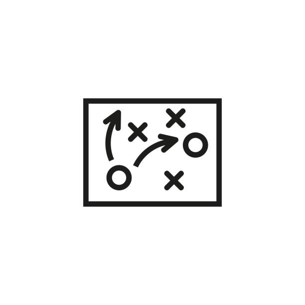 fußball-taktik-linie-symbol - strategie stock-grafiken, -clipart, -cartoons und -symbole
