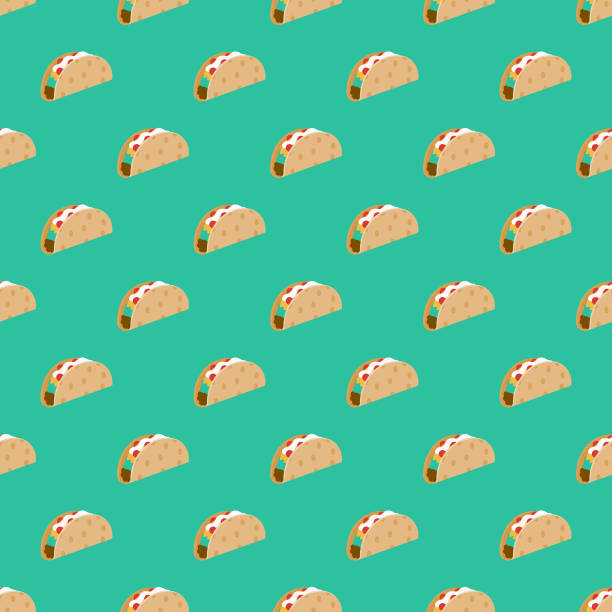 Football Tailgating Party Seamless Pattern A seamless pattern created from a single flat design icon, which can be tiled on all sides. File is built in the CMYK color space for optimal printing and can easily be converted to RGB. No gradients or transparencies used, the shapes have been placed into a clipping mask. taco stock illustrations