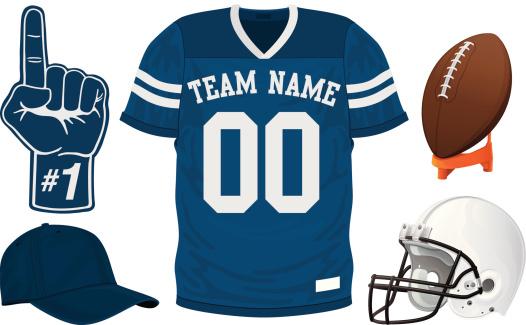 A football team blue jersey set