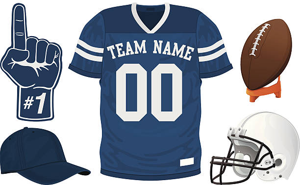 A football team blue jersey set Football Jersey Set american football uniform stock illustrations