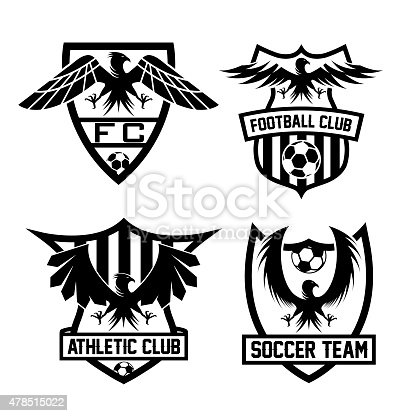football team crests set with eagles vector design template stock