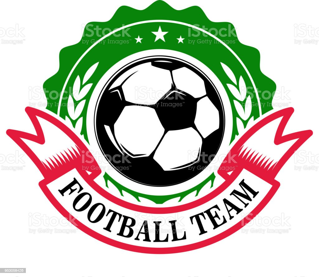 Football team. Emblem template with soccer ball. Design element for...