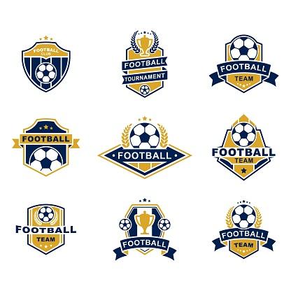 Football team emblems templates set