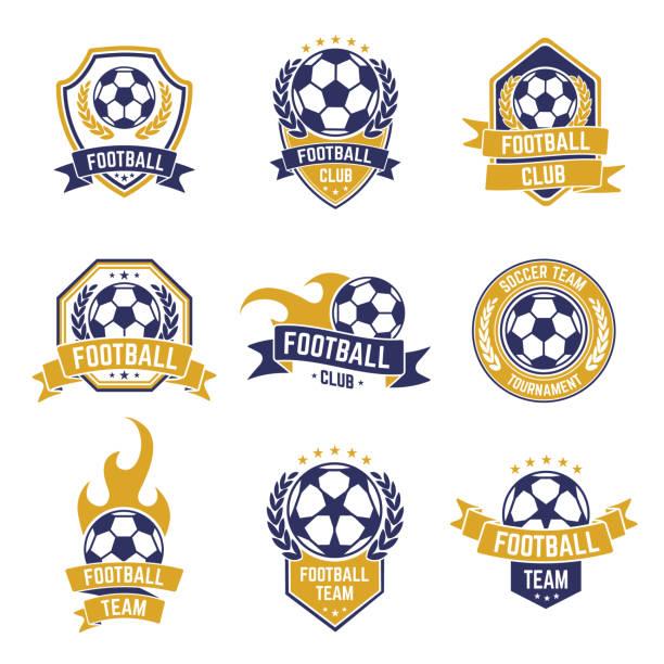 bildbanksillustrationer, clip art samt tecknat material och ikoner med fotbollslaget etiketter. fotboll boll klubb , sport ligor mästerskapet klistermärken, fotboll konkurrens sköld emblem vektor isolerade ikon uppsättning - fotboll