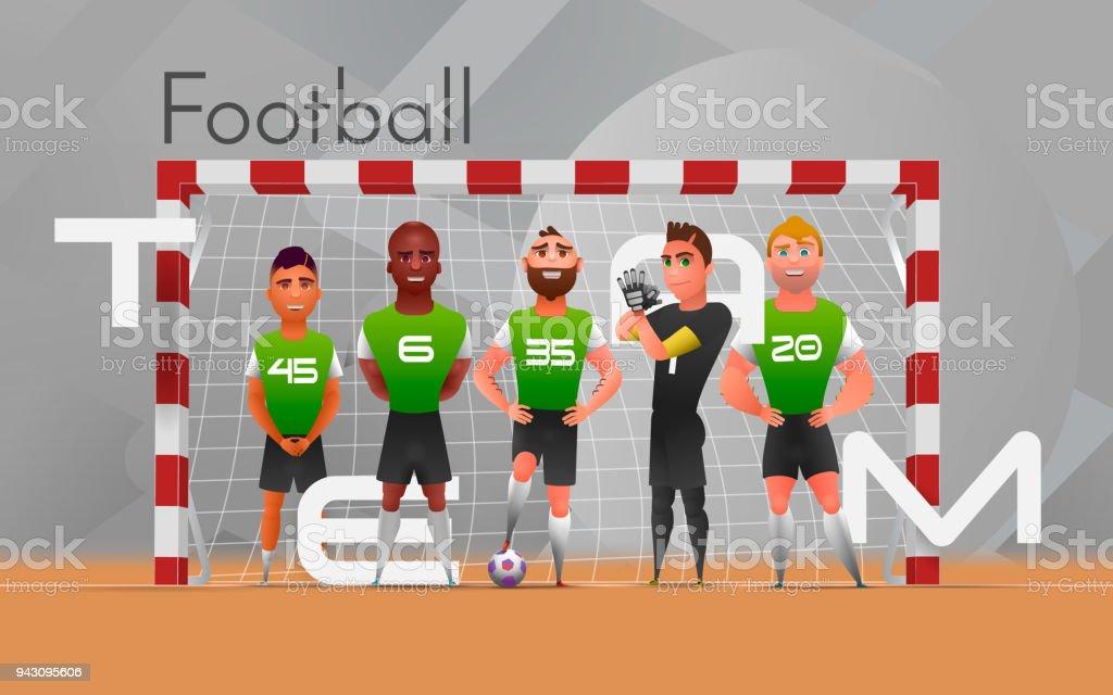サッカー チームはゲートに立っています。灰色の背景にゲートで多民族フットボールのチームに立ってのベクター イラストです。デザイン文字 - ゴールキーパーのロイヤリティフリーベクトルアート