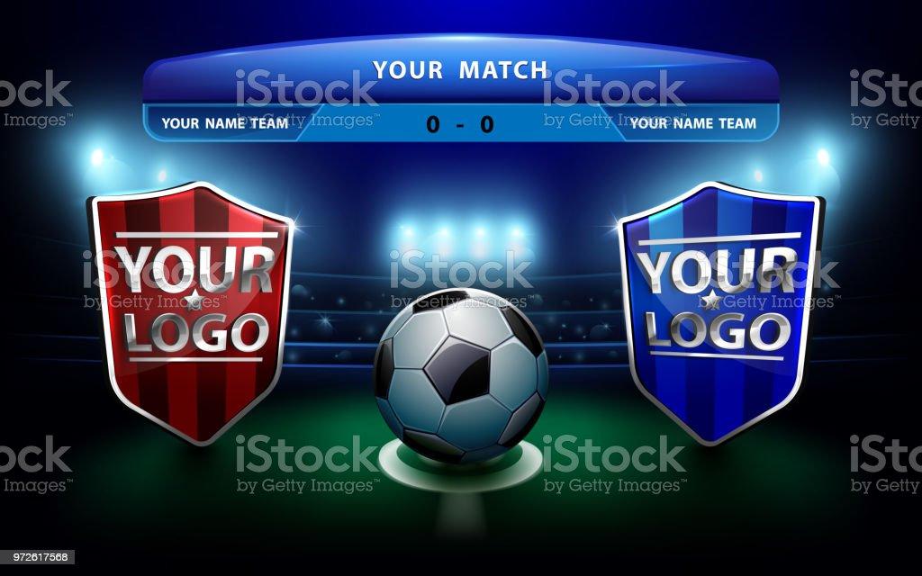 8fc4967449c14 Equipo de fútbol con marcador sobre fondo verde del campo y Estadio  ilustración de equipo de