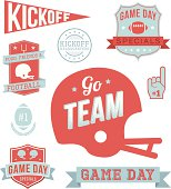 A set of vintage-style banners and badges focused on football. Each items is on a separate layer. Easily make color changes to match your local team. Included is a JPG and EPS in black and white. Ideal for both print and web.