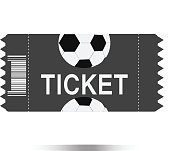 football tickets icon on white background, football tickets symbol. Vector illustration.