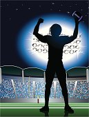 """Football Touchdown Celebration Background. Graphic silhouette illustration of American football player celebrating a touchdown. Check out my """"American Football Vector"""" light box for more."""