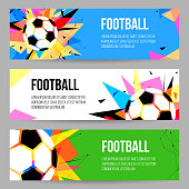 Football Tournament Banner Templates set. Soccer Championship Poster, Flyer Design. Vector illustration.