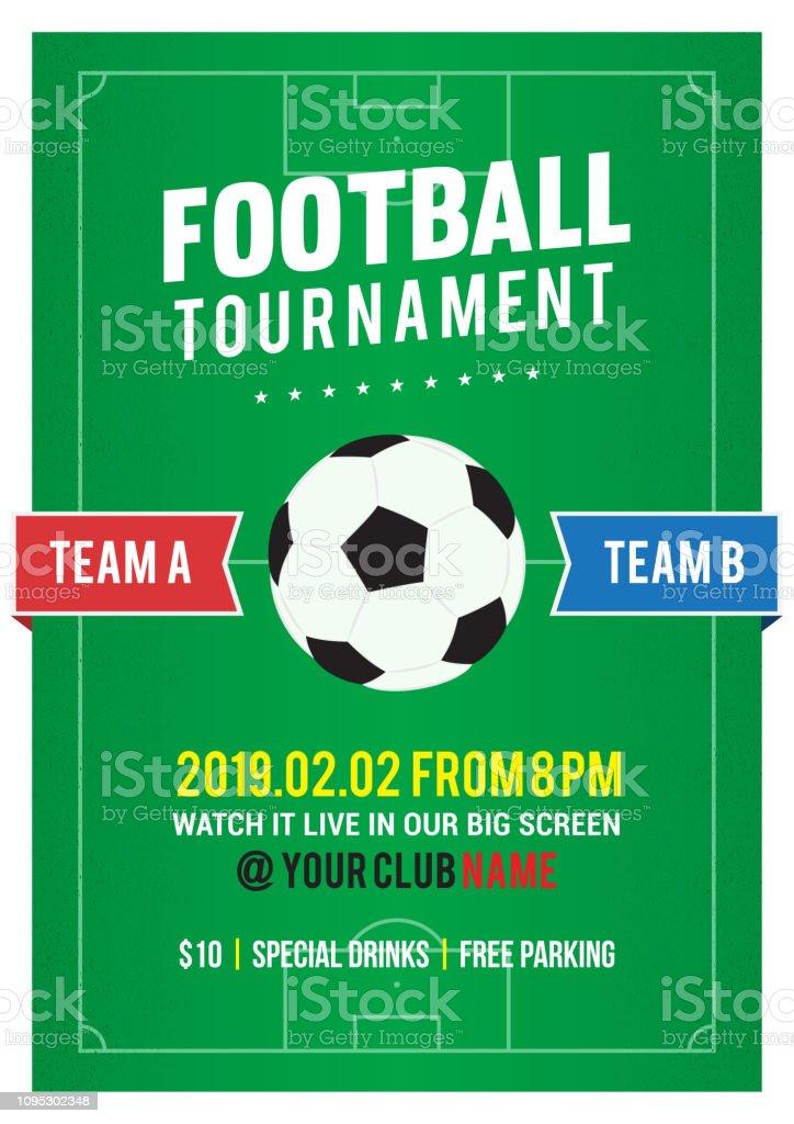 Football Tournament flyer vector illustration. Soccer ball on...