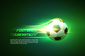 Football tournament. Football flying on the shiny background. Flaming soccer ball 3d vector