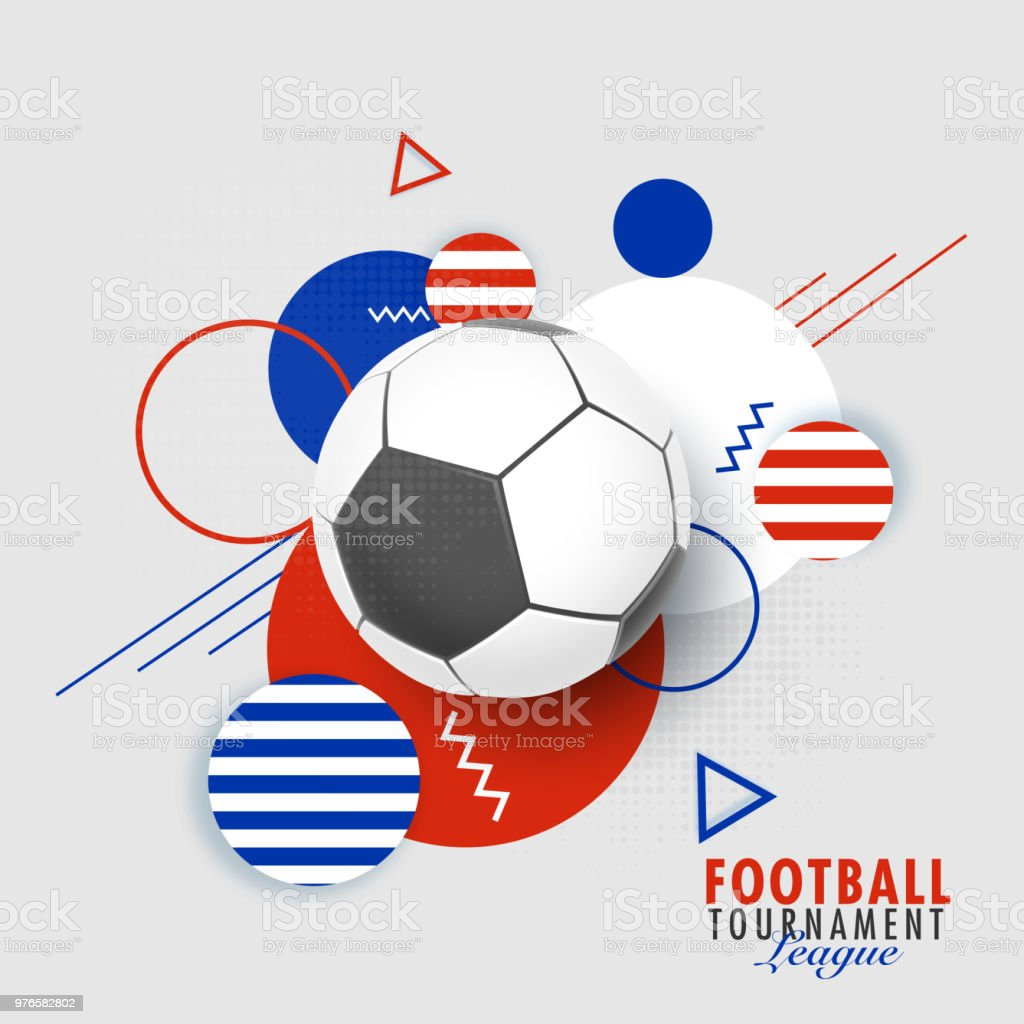 Football Tournament League Banner Or Poster Design With Football On Abstract Background Stock Illustration Download Image Now Istock