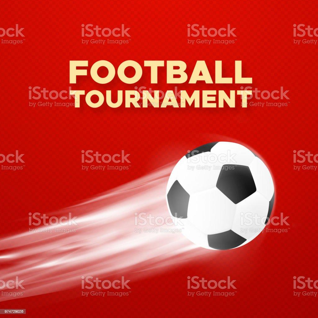 Diseño del cartel del torneo del fútbol. Fondo de vector de color rojo con  balón 3e9cc95e90b5a