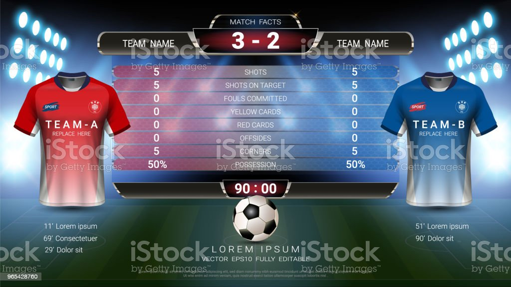Football tournament sport event, Soccer jersey mock-up and scoreboard match vs strategy broadcast graphic template, For presentation score or game results (Vector Eps10, fully editable) royalty-free football tournament sport event soccer jersey mockup and scoreboard match vs strategy broadcast graphic template for presentation score or game results stock illustration - download image now