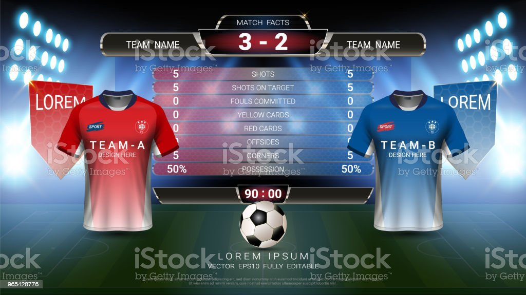 Football tournament sport event, Soccer jersey mock-up and scoreboard match vs strategy broadcast graphic template, For presentation score or game results (Vector Eps10, fully editable) royalty-free football tournament sport event soccer jersey mockup and scoreboard match vs strategy broadcast graphic template for presentation score or game results stock vector art & more images of backgrounds