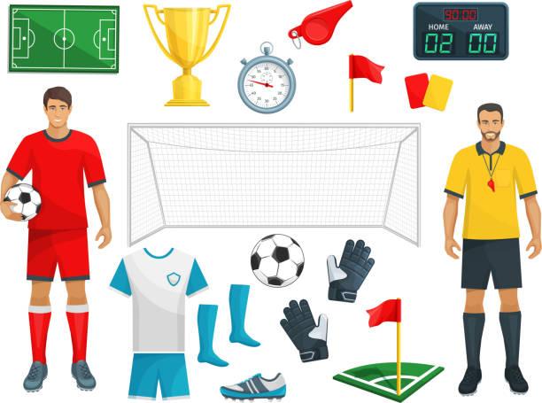 stockillustraties, clipart, cartoons en iconen met voetbal vector icons set soccer sport spel - soccer player