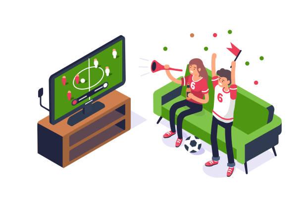 ilustrações de stock, clip art, desenhos animados e ícones de football - tv e familia e ecrã