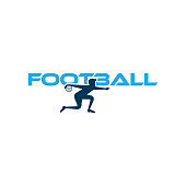 Football vector illustration. Sport  with football text and football player figure isolated on white background. Vector design template for football championship or competition design element.