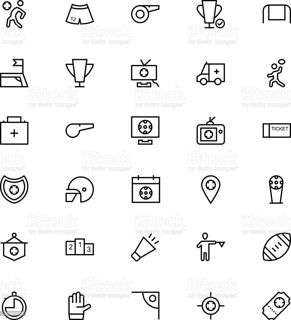 Football Vector Line Icons 4 vector art illustration