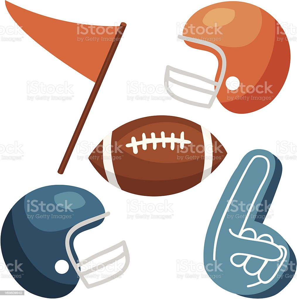 Football Vectors: helmets, ball, foam finger, pennant vector art illustration