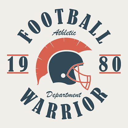 Football Warrior - t-shirt graphics with helmet. Print for sportswear, apparel, clothes. Sport logo. Vector