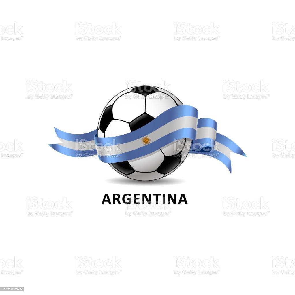 Fútbol con sendero colorido de la bandera nacional de Argentina. - ilustración de arte vectorial