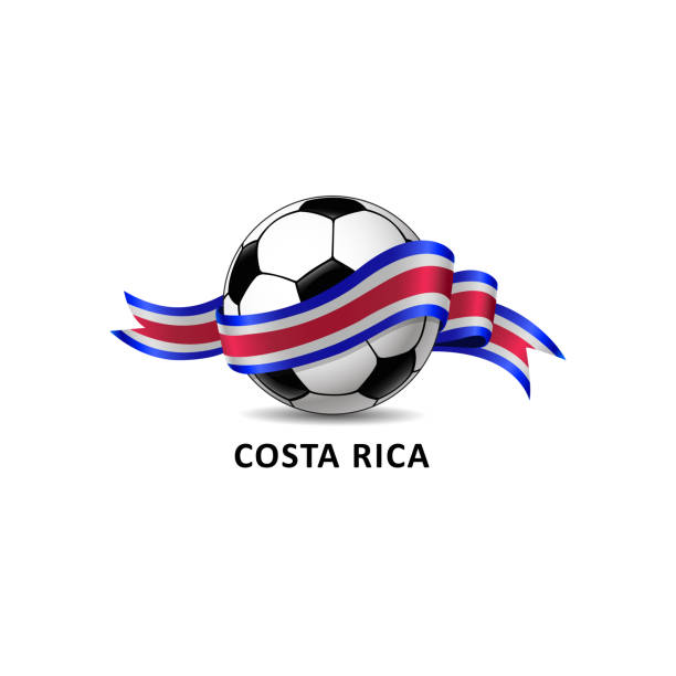 Football with costa rica national flag colorful trail. vector art illustration