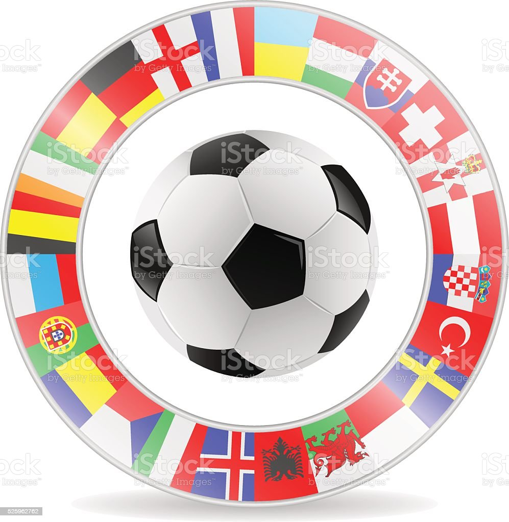 football with european flags vector art illustration