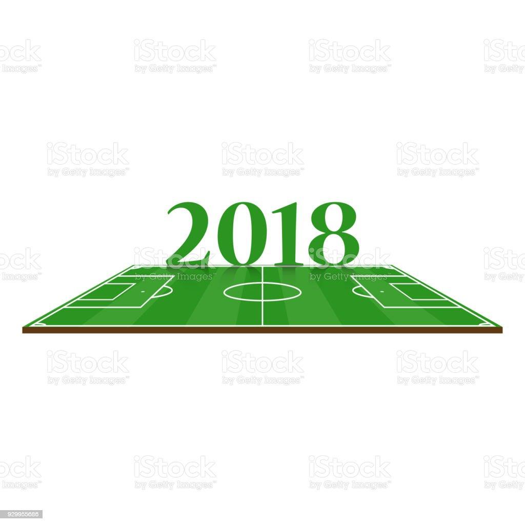 Fußballwelt 2018 Fußballplatz Isoliert Auf Weißem Hintergrund Stock ...