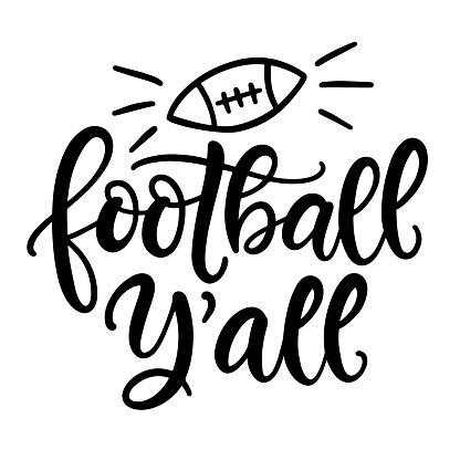 Football ya'll hand written lettering template