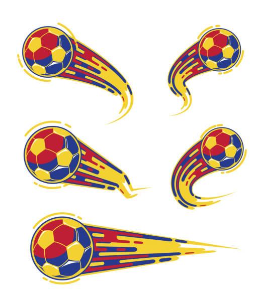 Football yellow blue red soccer symbols speed set vector art illustration