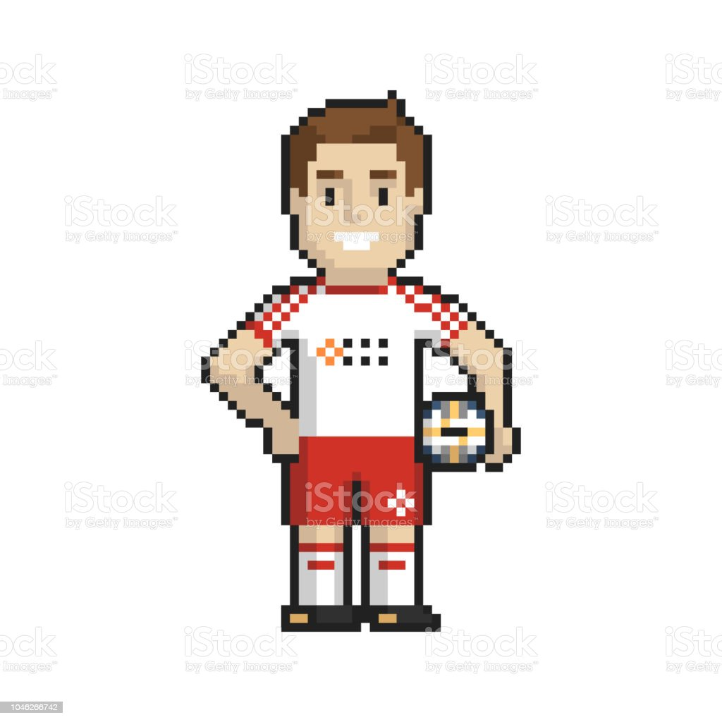 Footballer Pixel Art On White Background Vector Illustration
