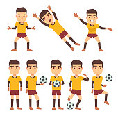 Footballer, soccer player, goalkeeper in different gaming poses set of