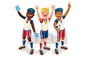 Crowd of persons celebrate xxxii summer games athletics medal. Sportive people celebrating football team. Footballer athlete symbol victory celebration. Sport cartoon symbolic flat vector illustration