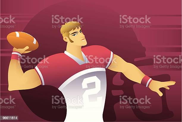 Футболист — стоковая векторная графика и другие изображения на тему Американская футбольная форма