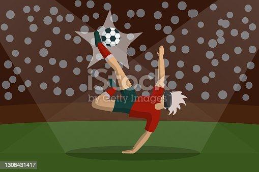 Footballer wearing virtual reality headset, kicking soccer ball, Stock vector flat illustration.