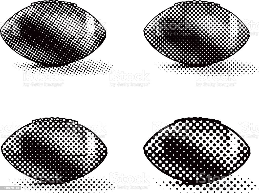 Footballs, Halftone Dot, Isolated on white vector art illustration