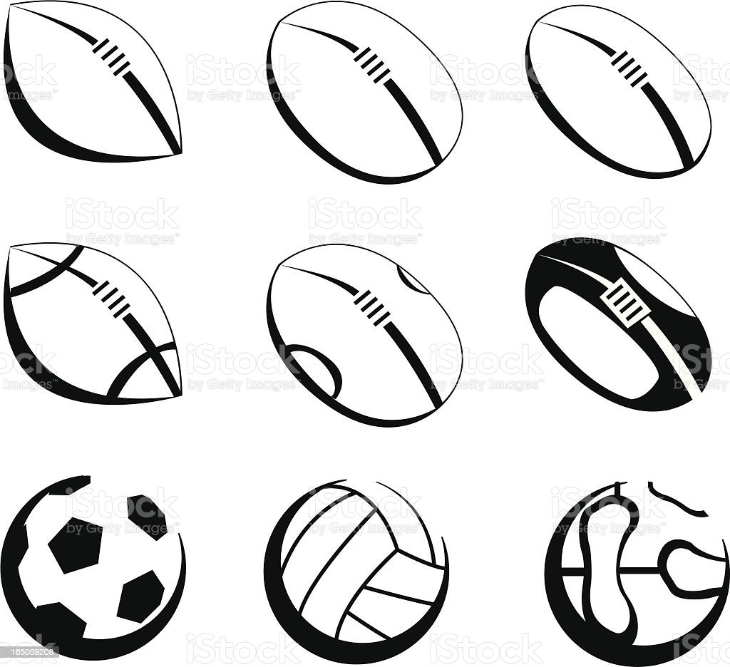 Footballs - Icon Set vector art illustration