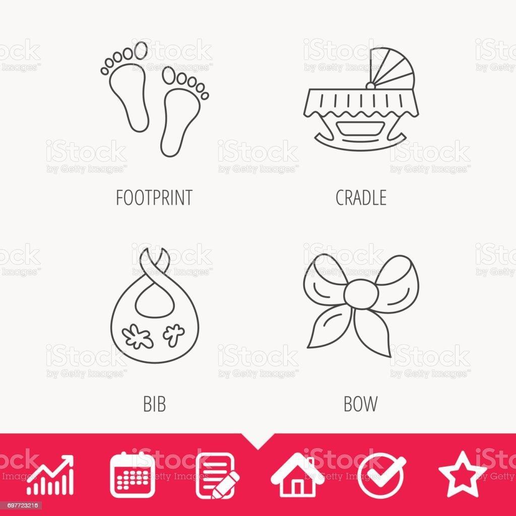 Footprint, cradle and dirty bib icons. vector art illustration