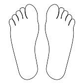 Footprint heel the black color icon