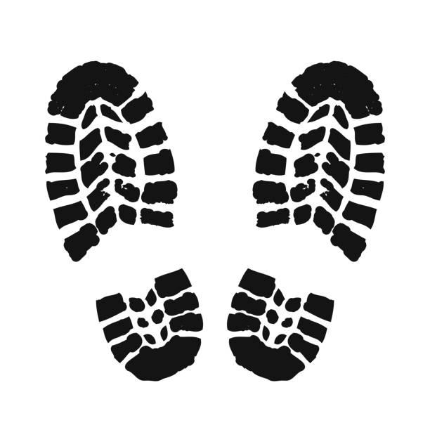 footprint human silhouette – stock vector - boot stock illustrations