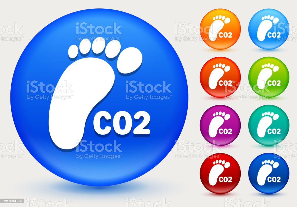 CO2 Footprint Icon on Shiny Color Circle Buttons royalty-free co2 footprint icon on shiny color circle buttons stock vector art & more images of carbon dioxide