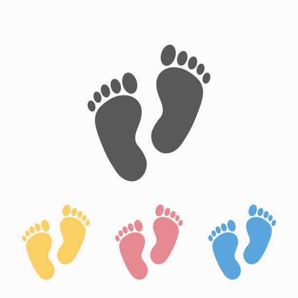 ilustrações, clipart, desenhos animados e ícones de ícone da pegada - bebês