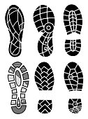 Footprint icons isolated on white background. Vector art. Collection of a imprint soles shoes. Footprint sport shoes big vector illustration set.