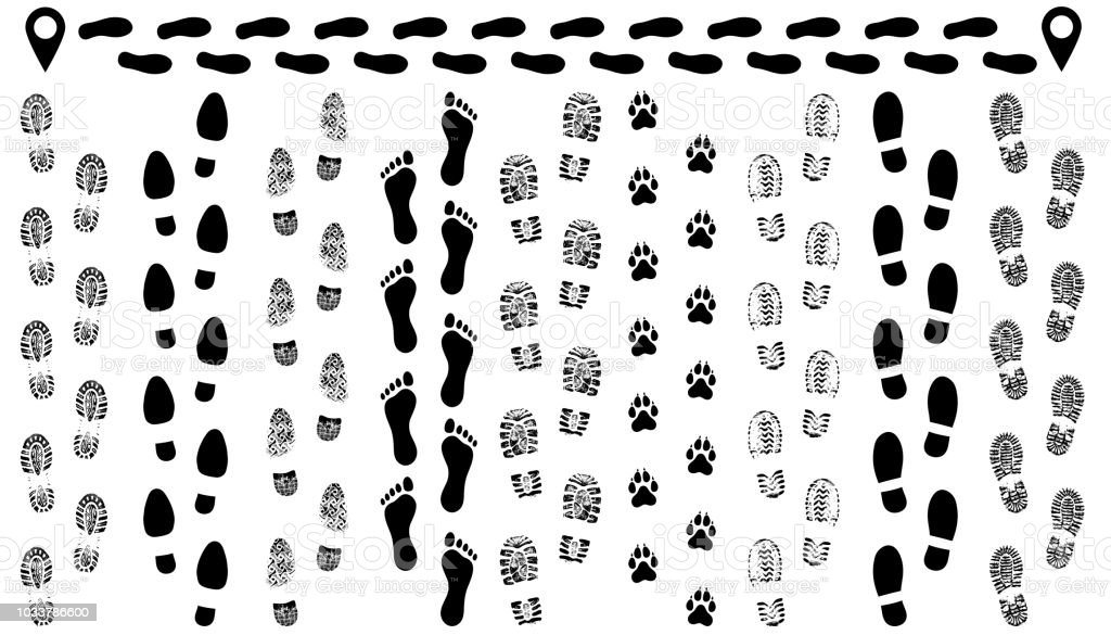 Footprint of shoes on the road, isolated set silhouette vector. Traces sole, imprint. Footstep, footwear