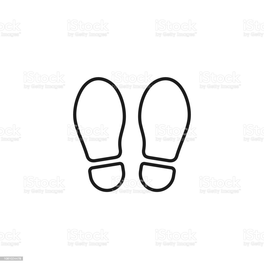 Footprint Outline Icon Isolated On White Background Vector Shoe