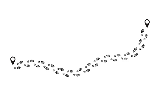 Footprint route. Human prints follow trail, funny people shoe steps, black footstep signs isolated on white. Vector foot route
